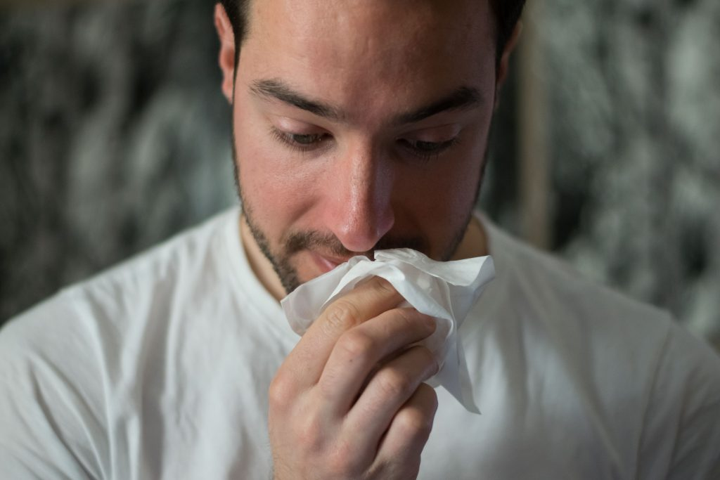 man with severe allergies